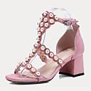 povoljno Ženske cipele bez vezica-Žene Cipele Ovčja koža Proljeće ljeto Udobne cipele Cipele na petu Kockasta potpetica Otvoreno toe Umjetni biser / Kopča Crn / Pink