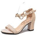 povoljno Ženske sandale-Žene Brušena koža Ljeto D'Orsay cipele Sandale Kockasta potpetica Okrugli Toe Crn / Bež / Pink