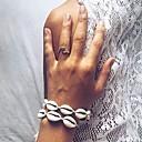 hesapli Moda Bileklikler-Kadın's Bileklik Tek Dizi Kabuk Ucuz Puka Kabuğu Bayan Şık moda Tatlı Pamuk Bilezik takı Siyah / Beyaz Uyumluluk Günlük Tatil