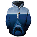 cheap Magnet Toys-Men's Plus Size Active / Exaggerated Long Sleeve Loose Hoodie - 3D / Cartoon Print Hooded Blue 4XL / Fall / Winter