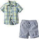 billige Sett med gutteklær-Baby Gutt Grunnleggende Ensfarget Kortermet Polyester Tøysett Lysegrønn