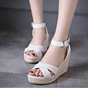 ieftine Sandale de Damă-Pentru femei PU Vară Confortabili Sandale Toc Platformă Vârf deschis Cataramă Alb / Galben