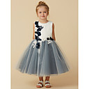 cheap Dog Clothes-Princess Tea Length Flower Girl Dress - Lace / Tulle Sleeveless Jewel Neck with Beading / Appliques / Flower by LAN TING BRIDE®