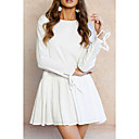 cheap Women's Heels-Women's Vintage / Basic Puff Sleeve Shift Dress - Solid Colored Black & White, Lace up