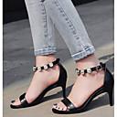 povoljno Ženske sandale-Žene Cipele Mekana koža Ljeto Udobne cipele Sandale Stiletto potpetica Crn