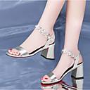 זול מגפי נשים-בגדי ריקוד נשים נעליים עור נאפה Leather קיץ נוחות סנדלים עקב עבה לבן / שחור / כסף