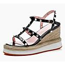 povoljno Ženske sandale-Žene Cipele Mekana koža Ljeto Udobne cipele Sandale Creepersice Crn / Badem