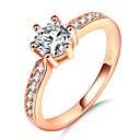cheap Earrings-Women's Stylish Band Ring Ring - Rose Gold Plated, Imitation Diamond Princess, Lucky Romantic, Fashion, French 5 / 6 / 7 / 8 / 9 Rose Gold For Party Gift
