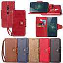 זול מגנים לטלפון & מגני מסך-מגן עבור Sony Xperia XZ1 Compact / Xperia XZ2 ארנק / מחזיק כרטיסים / עם מעמד כיסוי מלא אחיד קשיח עור PU ל Xperia XZ2 / Xperia XZ1 Compact / Sony Xperia XZ1