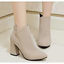 זול מוקסינים לנשים-בגדי ריקוד נשים נעליים PU חורף נוחות / מגפיים מגפיים עקב עבה מגפונים\מגף קרסול שחור / בז' / צהוב