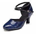 baratos Sapatos de Dança Moderna-Mulheres Sapatos de Dança Moderna Pele Salto Salto Grosso Sapatos de Dança Azul