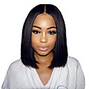 cheap Synthetic Capless Wigs-Synthetic Wig / Synthetic Lace Front Wig Straight Middle Part Synthetic Hair 14 inch Soft / Best Quality / Middle Part Bob Black Wig Women's Short Lace Front Natural Black Dark Brown Modernfairy Hair