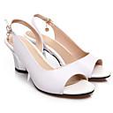 hesapli Kadın Sandaletleri-Kadın's Sandaletler Stiletto Topuk Nappa Leather Rahat Bahar Beyaz / Siyah / Kırmzı