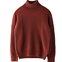 cheap Socks-Women's Daily Basic Solid Colored Long Sleeve Regular Pullover, Turtleneck Fall Camel / Yellow / Light Brown M / L / XL