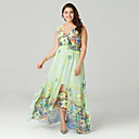 cheap Wedding Shoes-Women's Plus Size Boho Chiffon Dress - Floral Pleated / Print Maxi Deep V