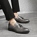 זול מגנים לטלפון & מגני מסך-בגדי ריקוד גברים לבש נעליים עור אביב בריטי נעליים ללא שרוכים שחור / אפור / חום / פרנזים / מסיבה וערב