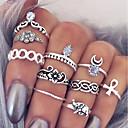 זול שרשרת אופנתית-בגדי ריקוד נשים שכבות טבעת הגדר - צלב, פרח פשוט, עיצוב מיוחד 9 כסף עבור יומי פגישה (דייט) / 10pcs