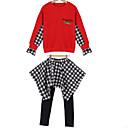 tanie Sukienki dla dziewczynek-Dzieci Dla dziewczynek Podstawowy Nadruk / Kolorowy blok / Kratka Długi rękaw Bawełna Komplet odzieży