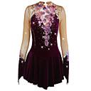 cheap Party Dresses-Figure Skating Dress Women's / Girls' Ice Skating Dress Amethyst Flower Spandex High Elasticity Competition Skating Wear Handmade Jeweled / Rhinestone Long Sleeve Ice Skating / Figure Skating