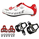 cheap Handlebars & Stems-SIDEBIKE Adults' Cycling Shoes With Pedals & Cleats / Road Bike Shoes Carbon Fiber Cushioning Cycling Red / White Men's