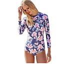 cheap Wetsuits, Diving Suits & Rash Guard Shirts-Women's One Piece Swimsuit Quick Dry, Breathability, High Elasticity Nylon / Spandex Long Sleeve Swimwear Beach Wear Bodysuit Floral / Botanical Swimming / Surfing / UPF50+