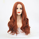 cheap Synthetic Lace Wigs-Synthetic Lace Front Wig Wavy Middle Part Synthetic Hair 22-24 inch Adjustable / Heat Resistant Brown Wig Women's Long Lace Front Auburn / Yes
