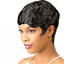 cheap Synthetic Capless Wigs-Synthetic Wig Wavy Short Bob Synthetic Hair 6 inch Women / With Bangs Black Wig Women's Short Capless Natural Black / Yes