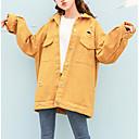 cheap Primer-Women's Daily Street chic Regular Denim Jacket, Contemporary Shirt Collar Long Sleeve Polyester Pink / Beige / Yellow S / M / L