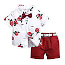 cheap Women-Kids / Toddler Boys' Street chic Daily / School Polka Dot / Floral Print Short Sleeve Regular Cotton / Polyester Clothing Set White