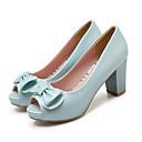 ieftine Tocuri de Damă-Pentru femei Pantofi Pumps Piele de Căprioară / PU Primăvară Tocuri Toc Îndesat Alb / Albastru / Roz / Zilnic