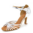 رخيصةأون ملابس رقص لاتيني-للمرأة أحذية رقص ستان صندل / كعب كعب مثير مخصص أحذية الرقص فضي