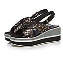 tanie Zestawy biżuterii-Damskie Komfortowe buty Zamsz Lato Sandały Płaski obcas Czarny