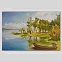 זול ציורי נוף-ציור שמן צבוע-Hang מצויר ביד - L ו-scape מודרני כלול מסגרת פנימית / בד מתוח