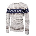 cheap Cell Phones-Christmas 2018 Men's Daily Basic / Exaggerated Striped Long Sleeve Regular Pullover Jumper, Round Neck Fall / Winter Blue / Gray M / L / XL