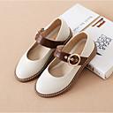 ieftine Pantofi Fetițe-Fete Pantofi Piele Primăvara & toamnă Confortabili Pantofi Flați Cataramă pentru Copii / Adolescent Alb / Negru / Rosu