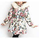 cheap Girls' Jackets & Coats-Kids Girls' Basic / Street chic Sports Floral Print Long Sleeve Cotton Down & Cotton Padded