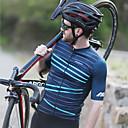 abordables Oxfords para Hombre-Mysenlan Hombre Manga Corta Maillot de Ciclismo - Verde Oscuro Tiras horizontales Bicicleta Camiseta / Maillot Poliéster / Cremallera YKK