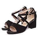 זול סנדלי נשים-בגדי ריקוד נשים נעלי נוחות PU קיץ סנדלים עקב עבה שחור / שקד