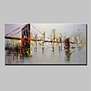 cheap Framed Oil Paintings-Oil Painting Hand Painted - Landscape / Architecture Modern Canvas