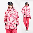 cheap Softshell, Fleece & Hiking Jackets-Women's Ski Jacket with Pants Windproof, Waterproof, Thermal / Warm Skiing / Ski / Snowboard / Downhill Cotton, POLY Winter Fleece Jacket / Snow Bib Pants Ski Wear