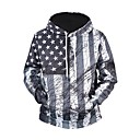 cheap Smartwatches-Men's Active / Basic Long Sleeve Hoodie - Geometric / Color Block / 3D Black & Red, Print Hooded Gray XL / Fall / Winter