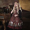 halpa Zentai-Vintage Gothic Lolita söpö tyyli Mekot Mies Pitsi Japani Cosplay Puvut Musta / Punainen Painettu Pitsi Hihaton Hihaton Polvipituinen