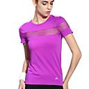 halpa Kuntoilu-, juoksu- ja joogavaatetus-Naisten Läpinäkyvä Yoga Top Urheilu Muoti Spandex College-pusero zumba Juoksu Fitness Lyhyt hiha Activewear Kevyt Erittäin elastinen