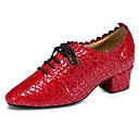 baratos Sapatos de Dança Moderna-Mulheres Sapatos de Dança Moderna Pele Oxford / Salto Salto Grosso Sapatos de Dança Vermelho / Azul