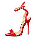 povoljno Ženske sandale-Žene Cipele PU Ljeto Obične salonke Sandale Stiletto potpetica Otvoreno toe Kopča Crn / Crvena / Zabava i večer