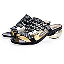baratos Sandálias Femininas-Mulheres Sapatos Confortáveis Sintéticos Primavera Sandálias Calcanhar Heterotípico Preto / Amêndoa