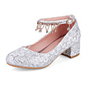 cheap Wedding Shoes-Women's Pumps Mesh / Synthetics Spring &  Fall Sweet Wedding Shoes Chunky Heel Round Toe Rhinestone / Tassel White / Light Red / Party & Evening