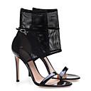 povoljno Ženske sandale-Žene Cipele PU Ljeto Udobne cipele Sandale Stiletto potpetica Crn
