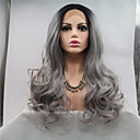 cheap Synthetic Lace Wigs-Synthetic Lace Front Wig Curly Layered Haircut 130% Density Synthetic Hair 26 inch Women / Youth Gray Wig Women's Mid Length Lace Front Black / Grey / Yes