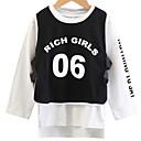 ieftine Costum Baie Fete-Copii Fete De Bază Mată / Geometric Manșon Lung Regular Poliester Bluză Negru 110